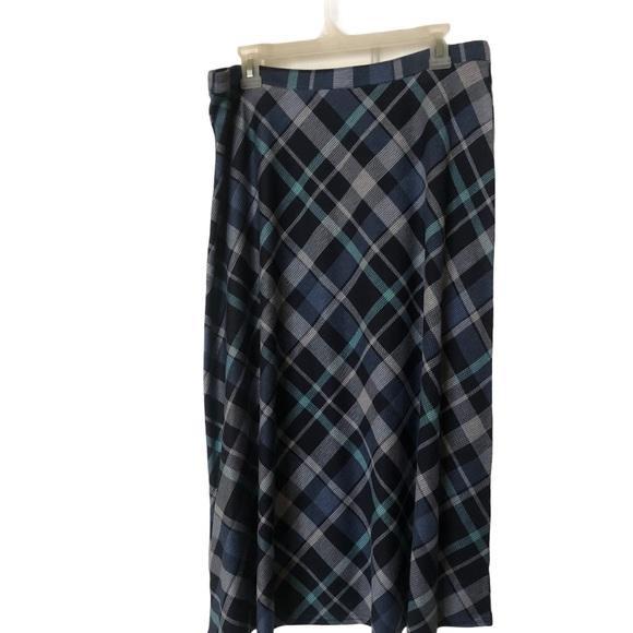 Christopher and Banks Blue Plaid Skirt NWT